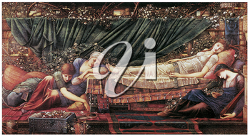 Royalty Free Clipart Image of The Briar Rose: The Rose Bower by Edward Burne-Jones