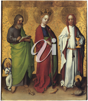 Royalty Free Clipart Image of Saints Matthew, Catherine of Alexandria and John the Evangelist by Stephan Lochner
