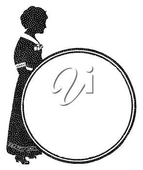 Royalty Free Clipart Image of a Silhouette of a Woman Behind a Circle
