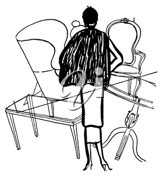 Royalty Free Clipart Image of a  Woman and Furniture