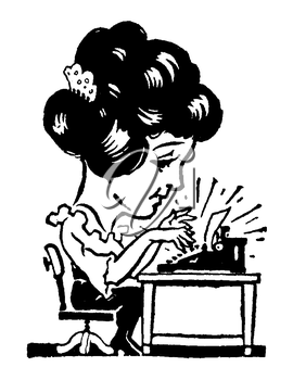 Royalty Free Clipart Image of a Cartoon Woman Typing on a Typewriter