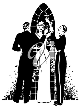 Royalty Free Clipart Image of a group of People Toasting at a Wedding