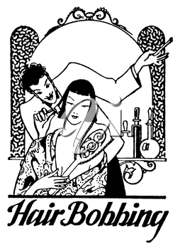 Royalty Free Clipart Image of a Vintage Hair Bobbing Advertisement