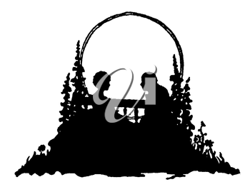 Royalty Free Silhouette Clipart Image of a Couple Sitting on a Bench Outdoors