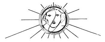 Royalty Free Clipart Image of a Sun With a Woman's Face