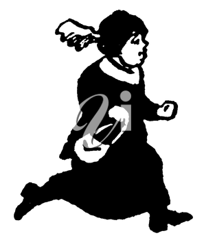 Royalty Free Clipart Image of an Elder Woman Running With Her Purse