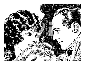 Royalty Free Clipart Image of a Couple Gazing Affectionately at Each Other