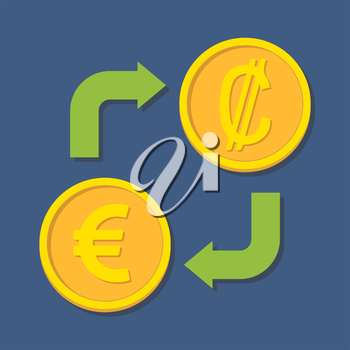 Currency exchange. Euro and Colon. Vector illustration