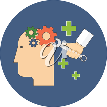 Psychology, psychotherapy, mental healing concept. Flat design. Icon in blue circle on white background
