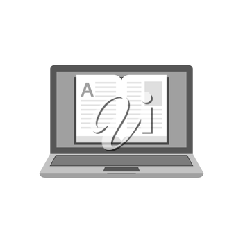 Laptop with a book on screen icon, online library, education concept. Symbol in trendy flat style isolated on white background. Illustration element for your web site design, logo, app, UI.