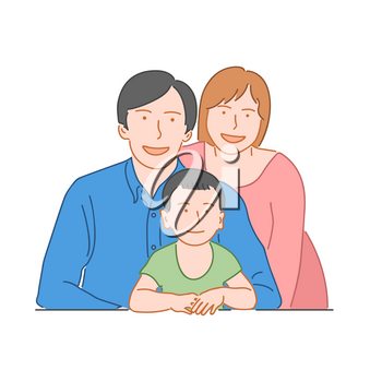 Happy family concept. Dad, mom and son. Hand drawn style doodle design illustration