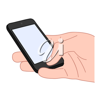 Hand holds a smartphone with a blank screen