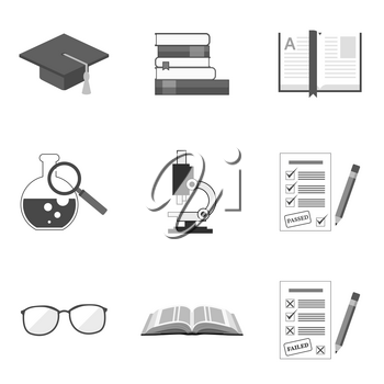 Set of education icons and symbols in trendy flat style isolated on white background. Vector illustration elements for your web site design, logo, app, UI.