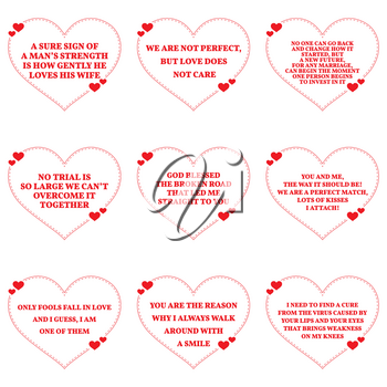Set of quotes about love over white background. Simple heart shape design. Vector illustration