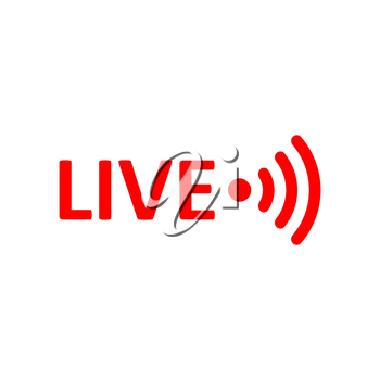 Live Stream sign. Red symbol, button of live streaming, broadcasting, online stream emblem. For tv, shows and social media live performances