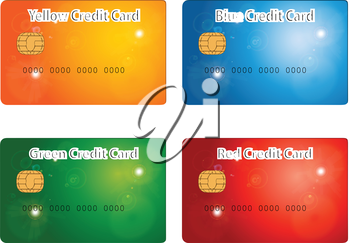 Illustration of red yellow blue and green credit card