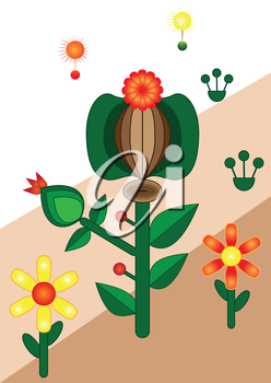 Illustration of abstract floral background with seeds on a striped background