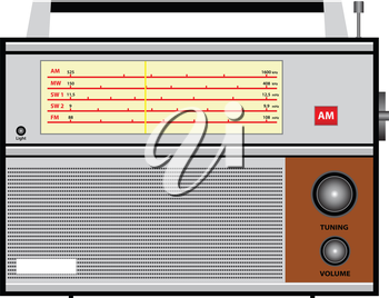 Illustration of an old radio on a white background