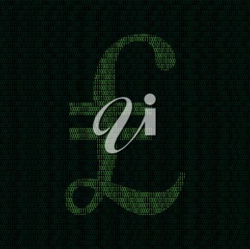 Illustration of silhouette of ponds symbol from binary digits