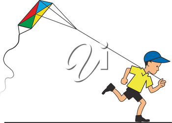 Illustration of a running boy with a flying kite