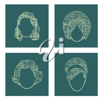 Vector Collection of the Woman Hair Style Silhouettes. Retro Fashion. Pen strokes sketch