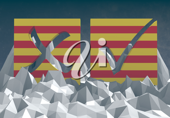 catalonia national flag textured vote mark on low poly landscape