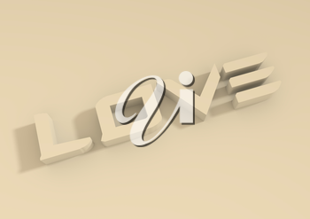 San Valentine card with LOVE word in 3D effect. Diagonal typing