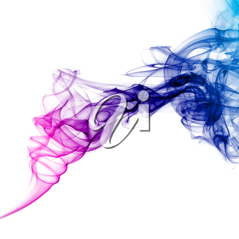 Abstract bright colored smoke on a white background.