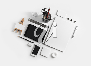 Blank stationery set on white paper background. Template for branding identity. For graphic designers presentations and portfolios.