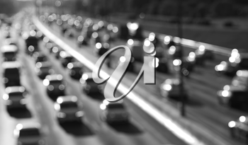 Black and white highway car traffic bokeh background