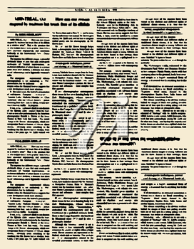 Old newspaper. Vintage magazine page. Vector illustration. Yellow retro paper page
