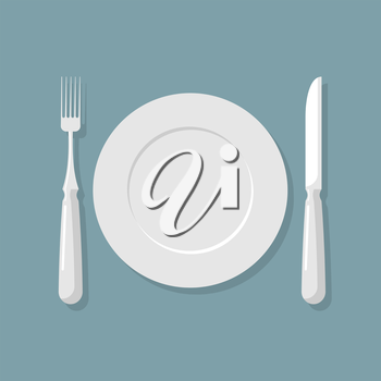 Empty white plate top view. Knife and fork. Cutlery. Vector illustration for  kitchen.