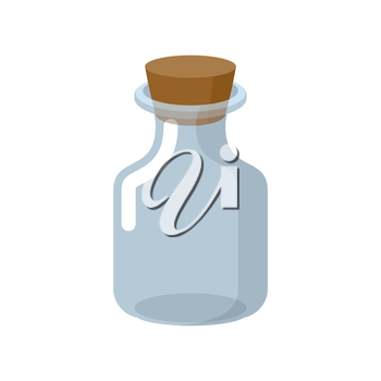 Chemical glass bottle with a wooden stopper. Magic potion bottle. Magic vessel for potions. Retro Laboratory for study of Bank. Vector illustration. jar for experiments on a white background.