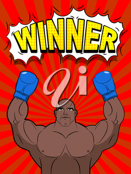 Winner in style of pop art. African American boxer wearing blue boxing gloves. Champion ring. Vector illustration of a person.