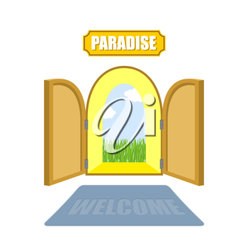Gates of paradise on a white background. Entrance to paradise. Access to God. Open doors to  garden of Eden with blue sky and green grass. Vector illustration of religion