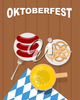Beer mug on a wooden table and sausages in plate. Beer snack pretzel. Cloth with ornament of blue rhombuses. Oktoberfest. Beer Festival in Germany. Vector illustration of top view. Traditional food fo
