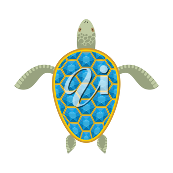 Water turtle Sapphire carapace. Marine animal with precious stones. Vector illustration