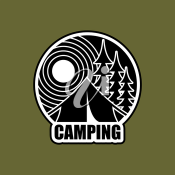 Camping logo. Emblem for accommodation camp. Landscape with tent and forest