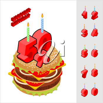 Discounts birthday when buying hamburger. Candles and figures for sales. Reducing cost of burger on day of birth. Fast food and rooms set isometrics