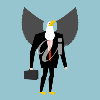 Eagle businessman. business bird in suit. Winged black manager in suit. Bald eagle with wings and case. Avian boss. Animal businessman isolated