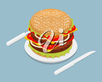 Hamburger isometrics. 3D Fast food on plate. Cutlery fork and knife. Kitchenware. Big Juicy Burger with cheese and vegetarian cutlets. Onions and tomatoes. Petite American Sandwich