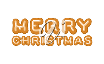 Merry Christmas gingerbread typography. Logo lettering cookies for holiday