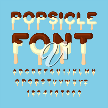 Popsicle font. Ice cream ABC. Cold sweets alphabet. Food typography. Edible letters. dessert lettering