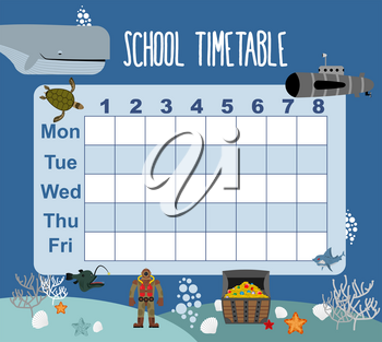 timetable. School schedule on underwater world. Days of week. sked for students. Shark and whale. Diver and turtle. Submarine and corals