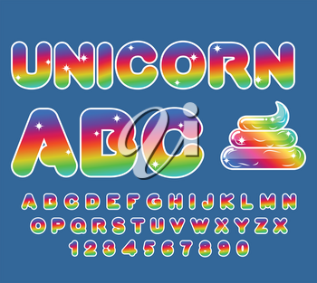 Unicorn ABC. Rainbow font. Multicolored letters. Fantastic alphabet. Fairy typography