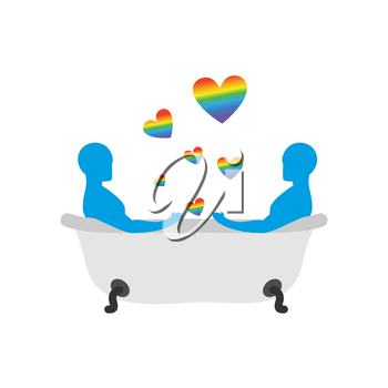 Gays in bath. Two men in bath. LGBT people taking bath. Joint bathing. Passion feelings among lovers. Romantic illustration washed with currency. Love rainbow