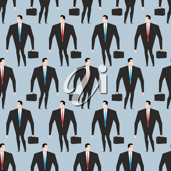 Businessman seamless pattern. Manager in suit and with briefcase texture. Background of  people. Mob office people
