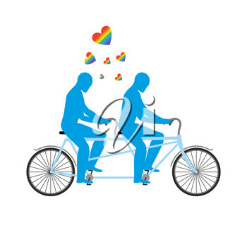 Gays in tandem. Two blue men on bicycle. Lovers of cycling. Joint walk. Romantic date. Heart rainbow -  symbol of LGBT love