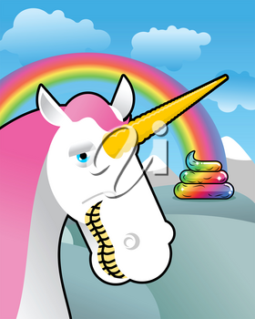 Unicorn on landscape. Turd unicorn. Rainbow of shit. Clouds and sky. Magic animal laughs. Laughter magical beast