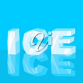 Ice text. Cool lettering letters. Typography frozen letters